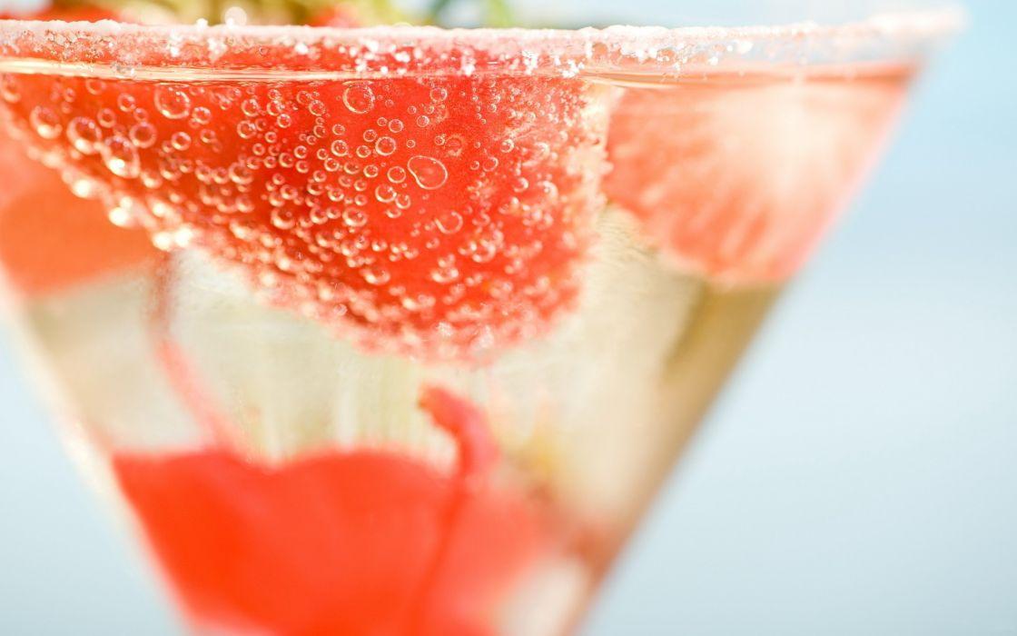 Food desserts cocktail strawberries depth of field wallpaper