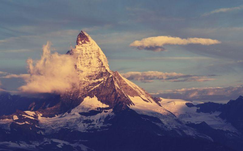 Mountains clouds landscapes switzerland matterhorn wallpaper