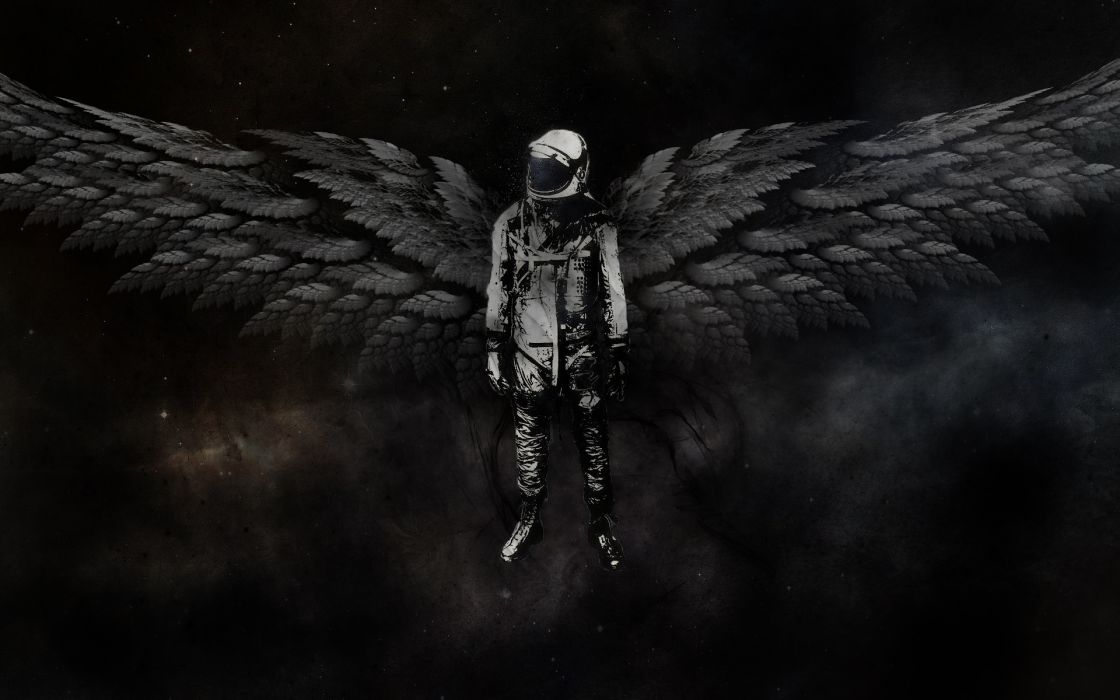 Outer space astronauts angel wings wallpaper