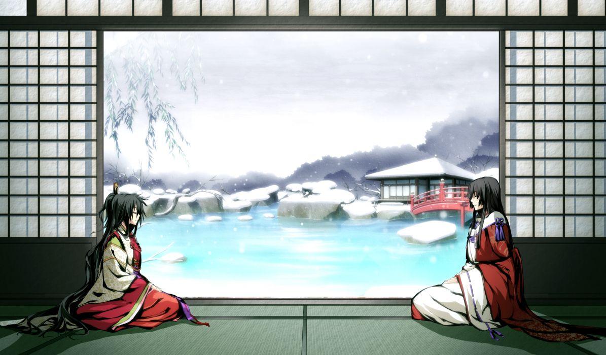 Dress miko game cg kajiri kamui kagura  mikado ryuumei koga rindou wallpaper