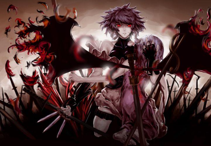 Touhou wings maids blood weapons izayoi sakuya red eyes short hair knives remilia scarlet anime girls swords wallpaper