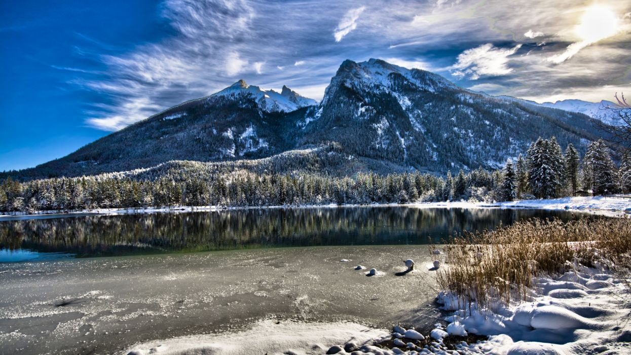 Mountains nature forest lakes wallpaper