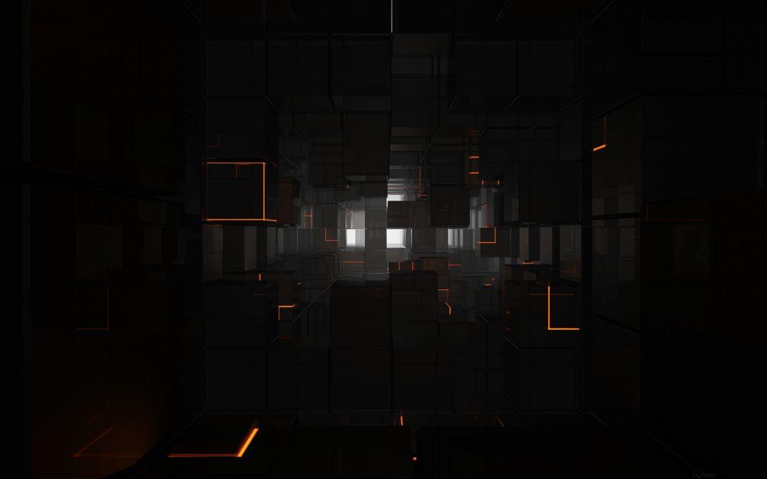 Abstract cubes glow lines corridor wallpaper