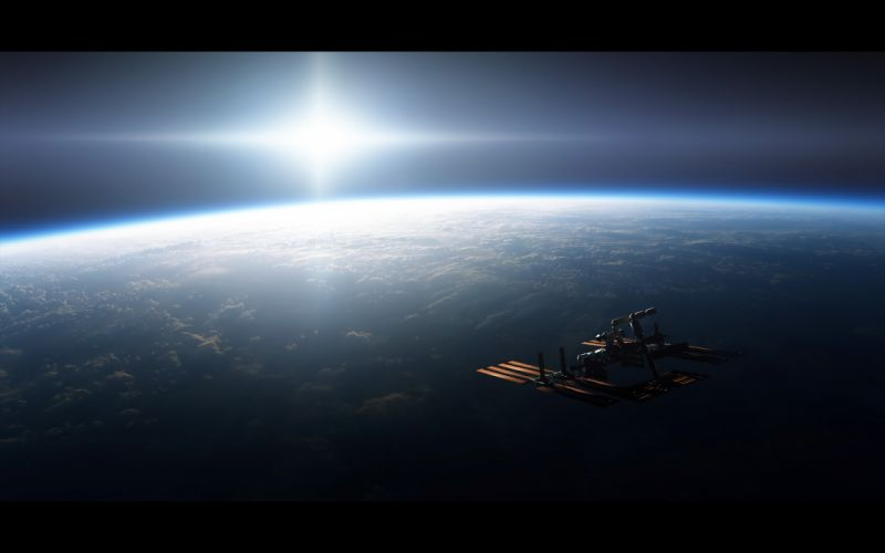 Outer space earth international space station wallpaper