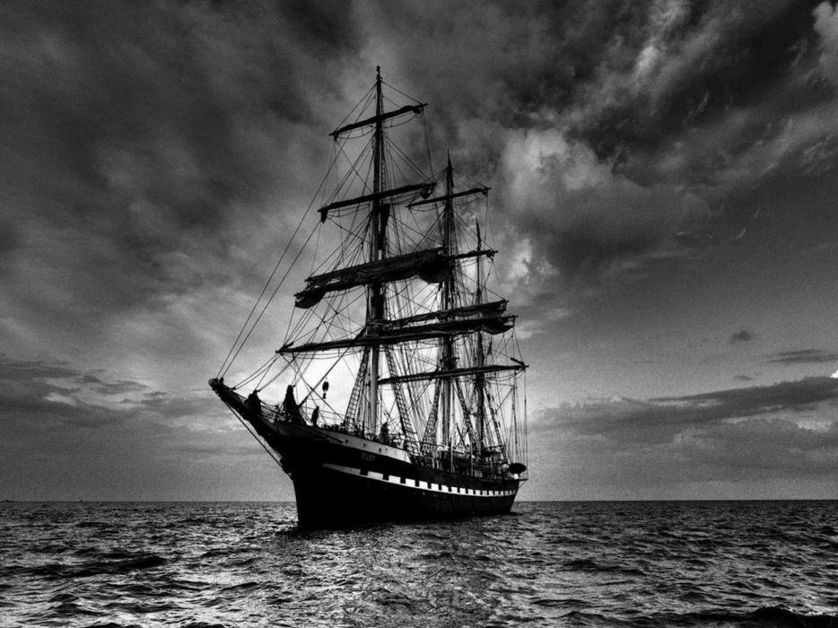 Black and white clouds nature seas dark boats sailing wallpaper