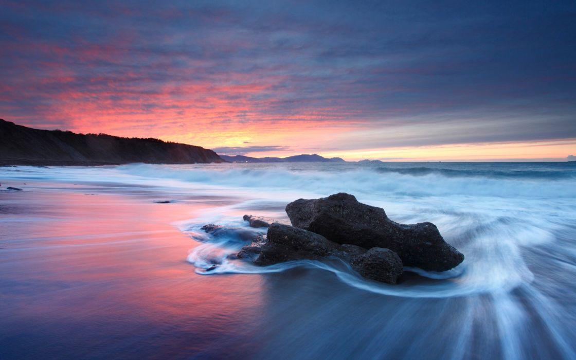 Sunset beach seascapes wallpaper