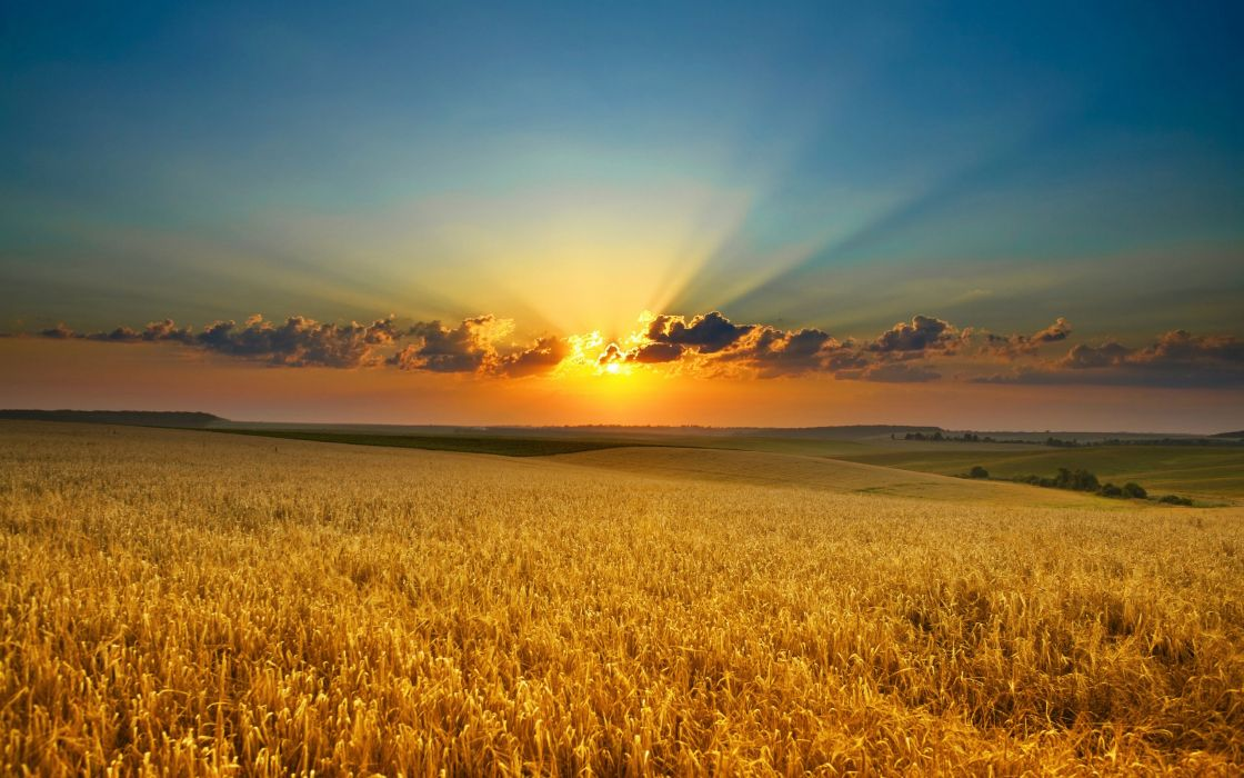 Sunset clouds landscapes nature fields sunlight wallpaper