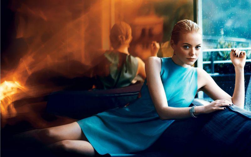 Blondes eyes actress emma stone blue dress wallpaper