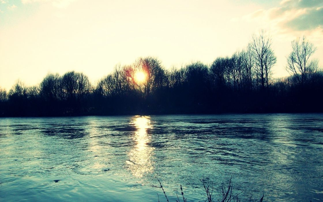 Water sunset landscapes nature rivers wallpaper