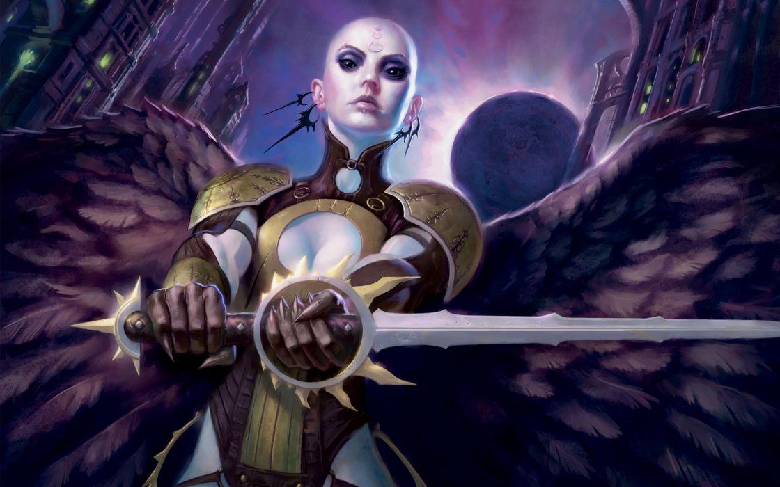 Angels magic the gathering bald swords wallpaper