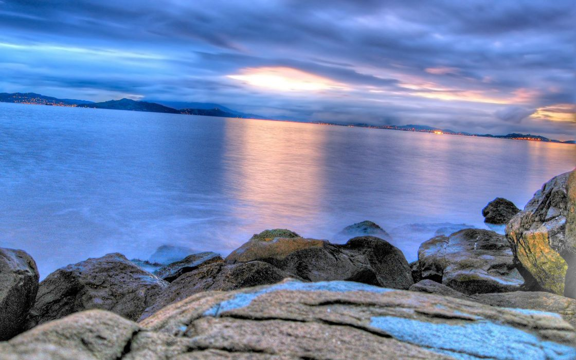 Sunset ocean landscapes beach rocks seaside wallpaper