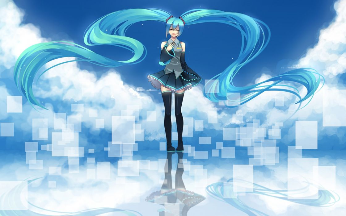 Vocaloid hatsune miku tie skirts long hair thigh highs anime anime girls wallpaper