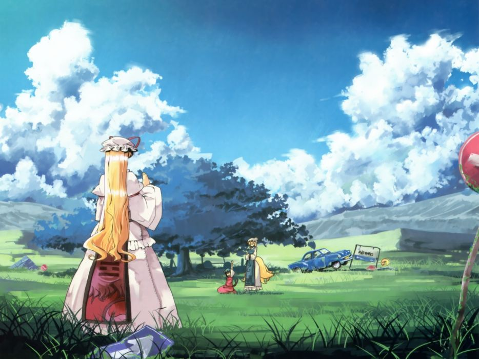 Blondes tails video games clouds landscapes nature touhou trees dress multicolor cars signs grass hills long hair ribbons nekomimi animal ears short hair cat ears scenic yakumo yukari red dress sitting c wallpaper
