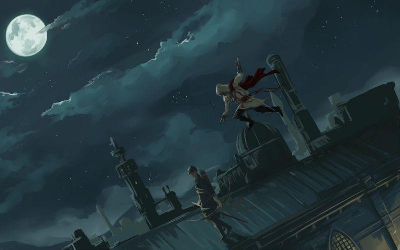 Video games assassins creed moon fantasy art artwork wallpaper