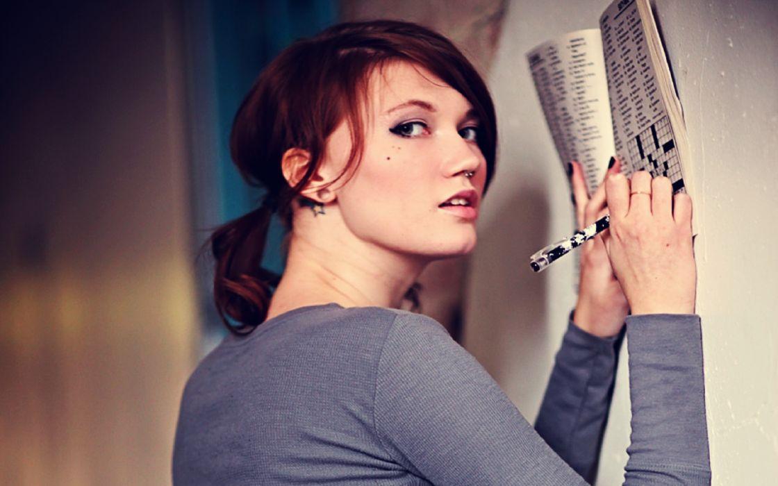 Women blue eyes redheads models writing wallpaper