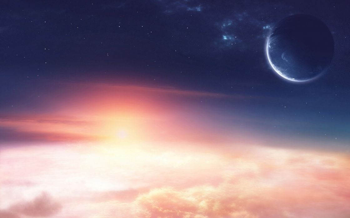 Clouds outer space planets wallpaper