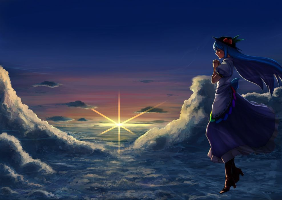 Video games clouds touhou dress long hair blue hair closed eyes hinanawi tenshi skyscapes hats anime girls wallpaper