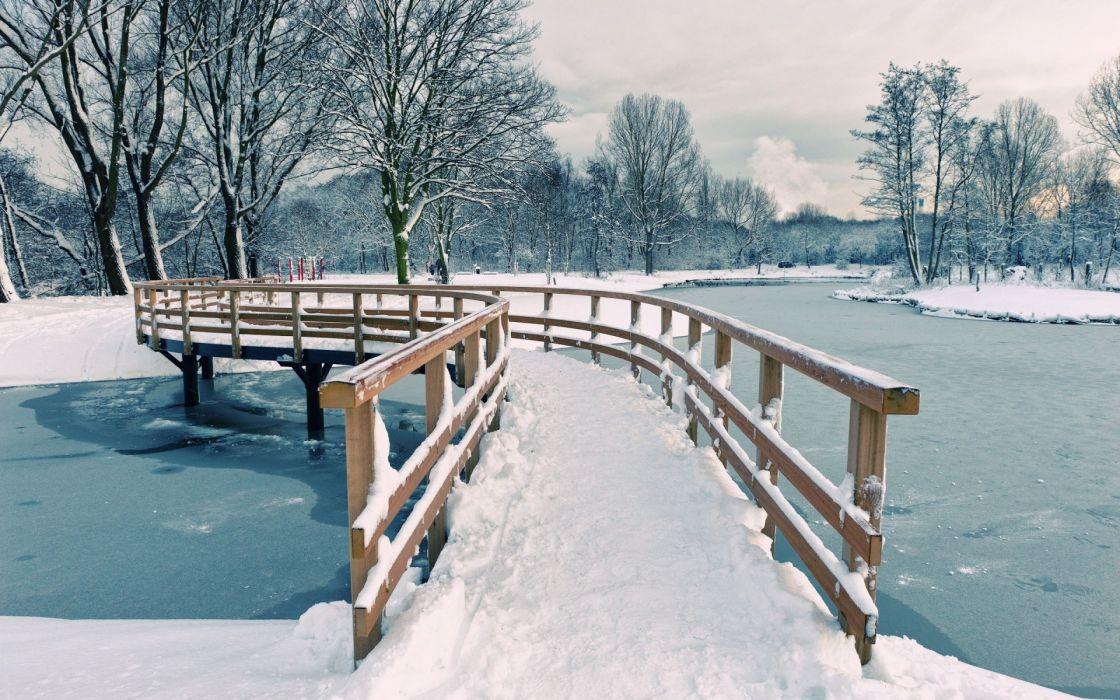 Winter (season) snow trees bridges rivers wallpaper