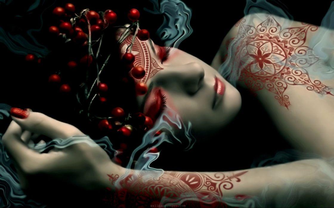 Women fantasy artwork tattoo design digital playground wallpaper