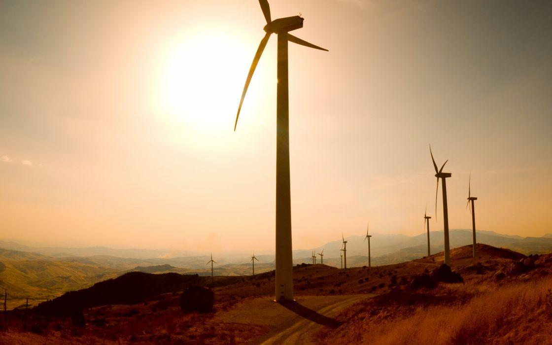 Landscapes energy wind generators wind turbines wallpaper