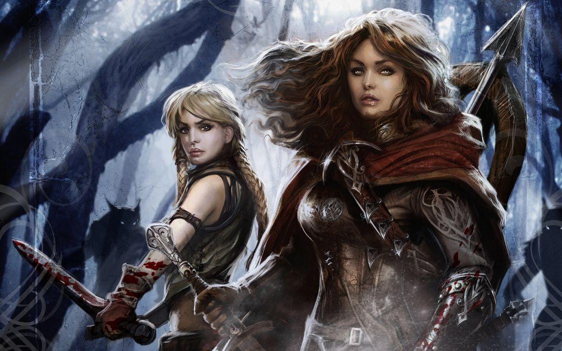 Women monsters forest blood demons fantasy art werewolf artwork warriors female warriors swords wallpaper