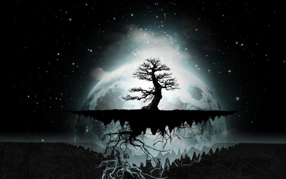 Abstract trees dark night stars moon digital art artwork night sky wallpaper