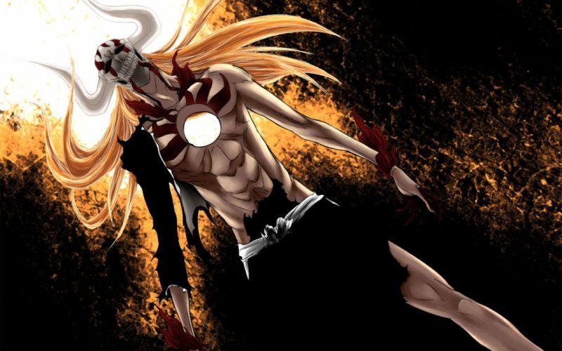 Bleach kurosaki ichigo horns long hair hole anime hollow ichigo vastolorde wallpaper