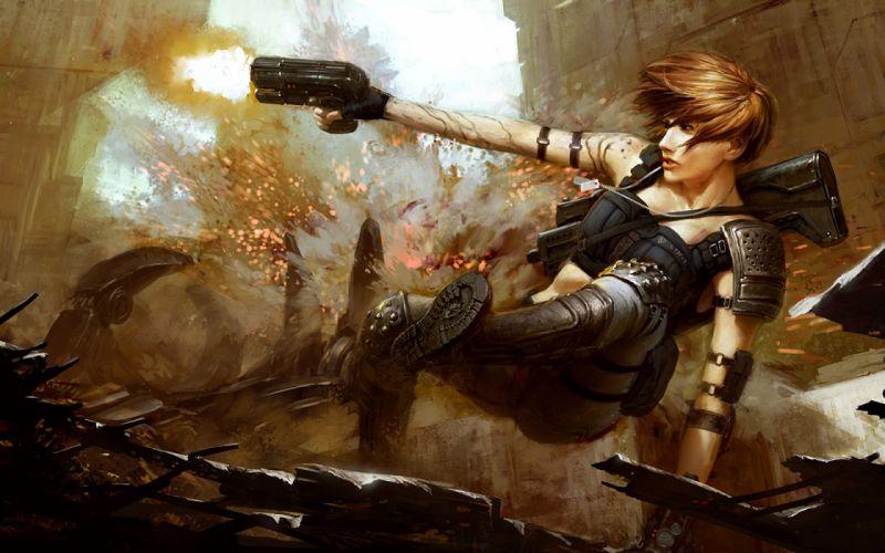 Women guns explosions action wallpaper