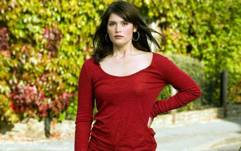 Brunettes women people brown eyes gemma arterton red dress wallpaper