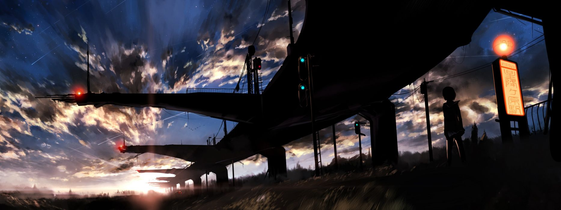 Sunset clouds makoto shinkai scenic 5 centimeters per second skyscapes wallpaper