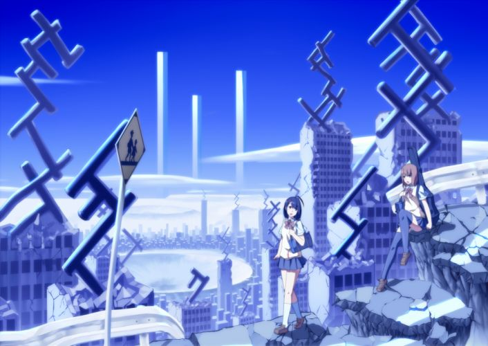 Blue cityscapes buildings anime wallpaper
