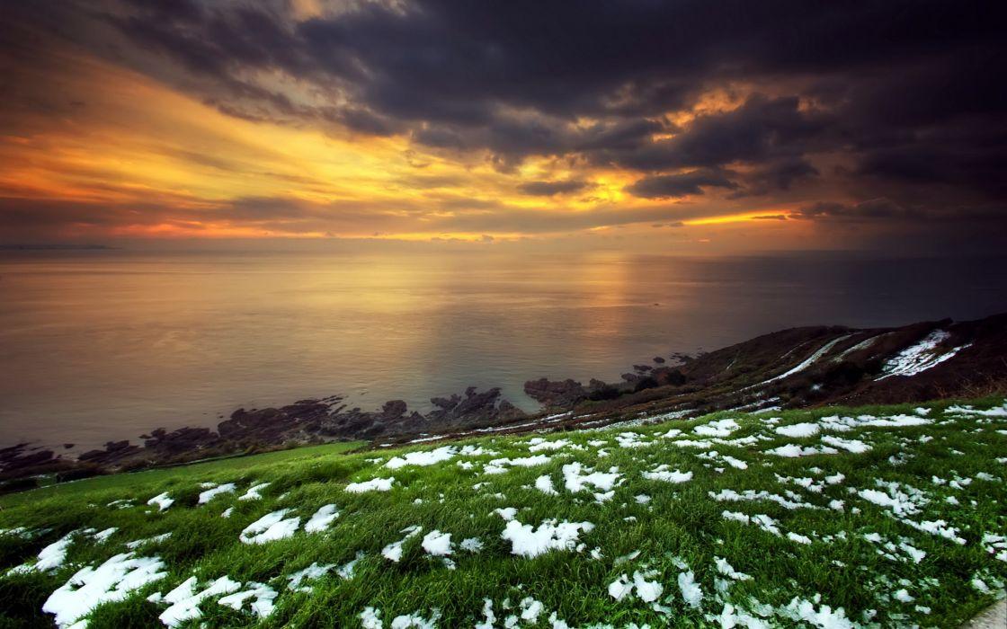 Sunset ocean landscapes nature wallpaper