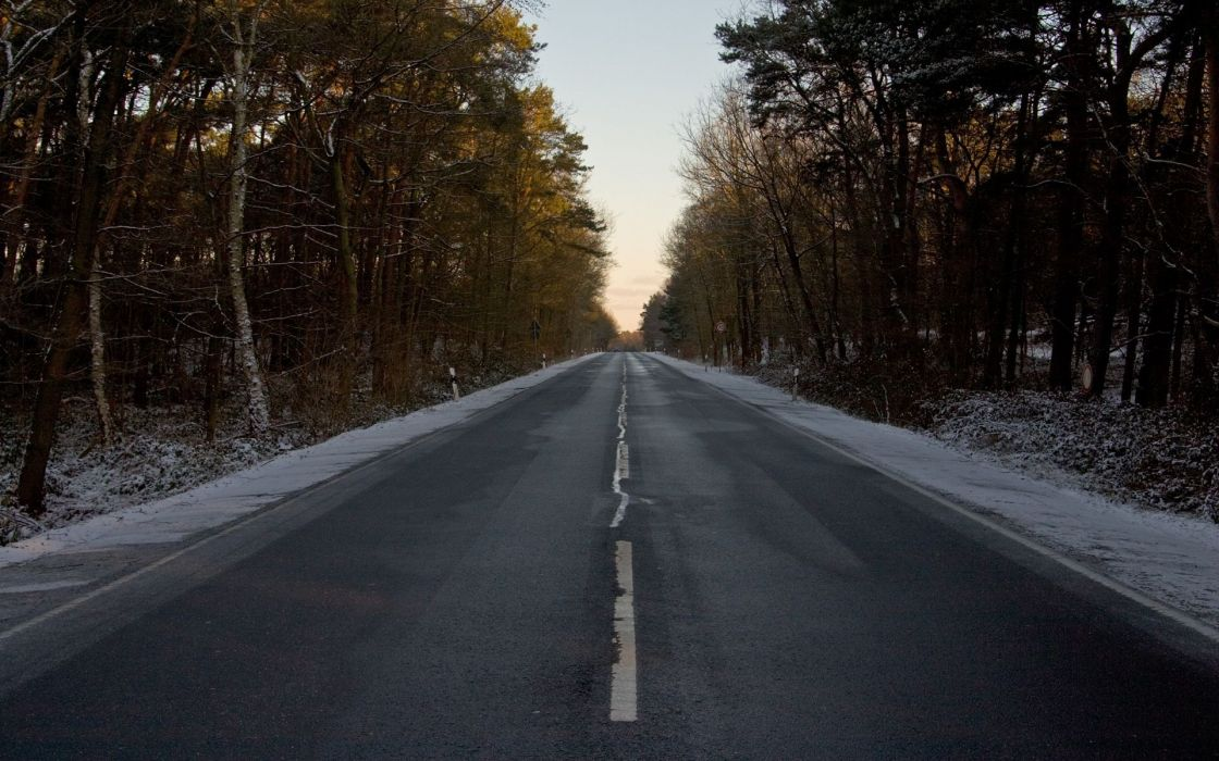 Landscapes nature forest roads winter landscapes wallpaper