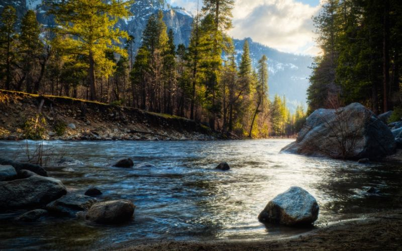 Mountains landscapes nature forest the river rivers wallpaper