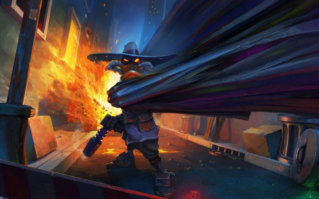 Disney company comics explosions darkwing duck digital art artwork wallpaper