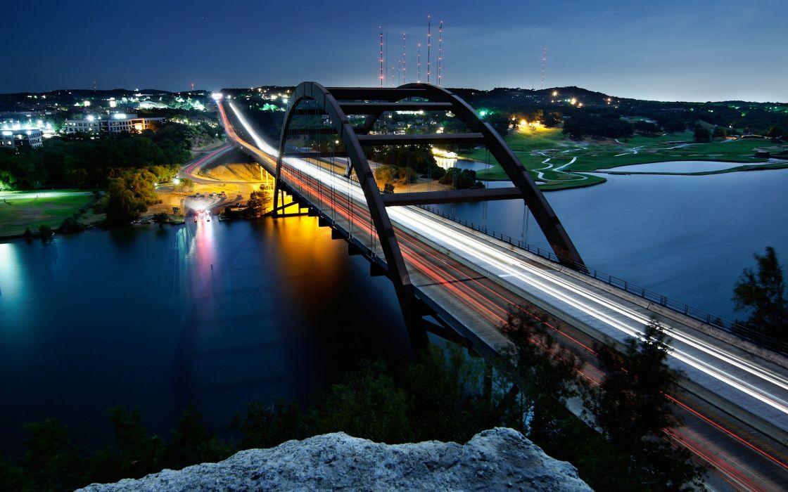 Night lights bridges long exposure wallpaper