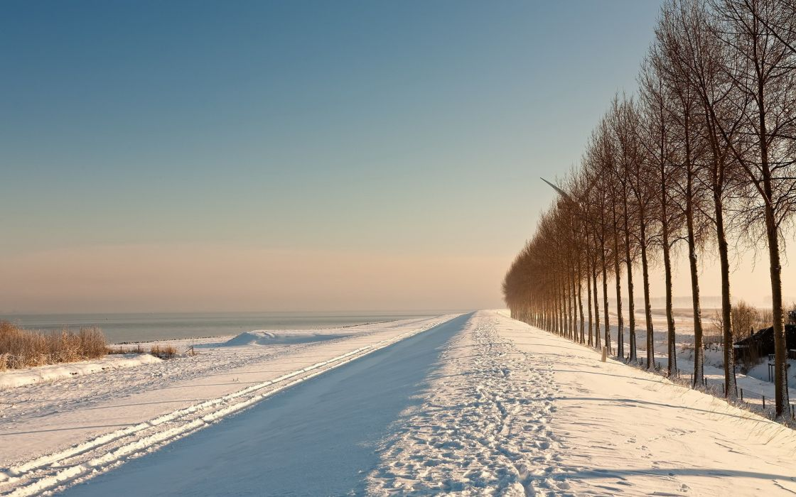 Landscapes snow winter roads wallpaper