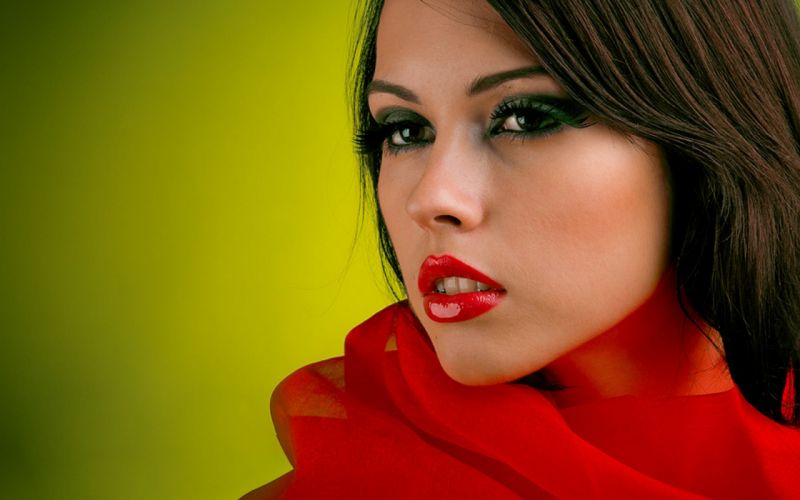 Women simple background faces green background red lips wallpaper