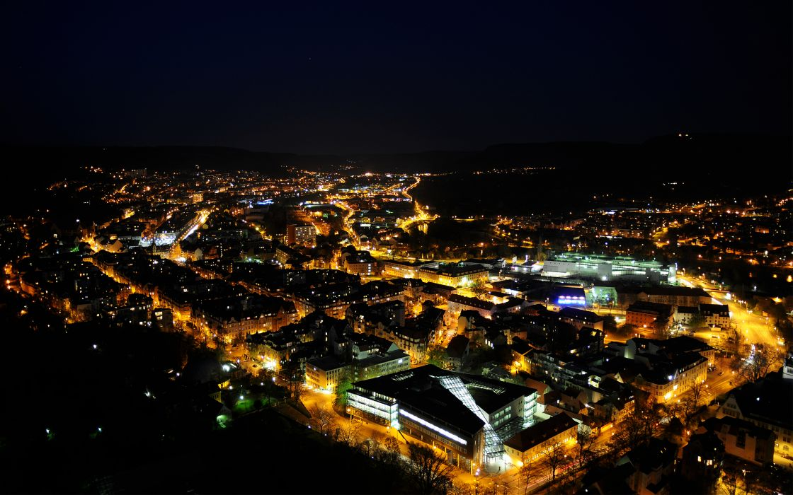 Cityscapes night lights buildings wallpaper