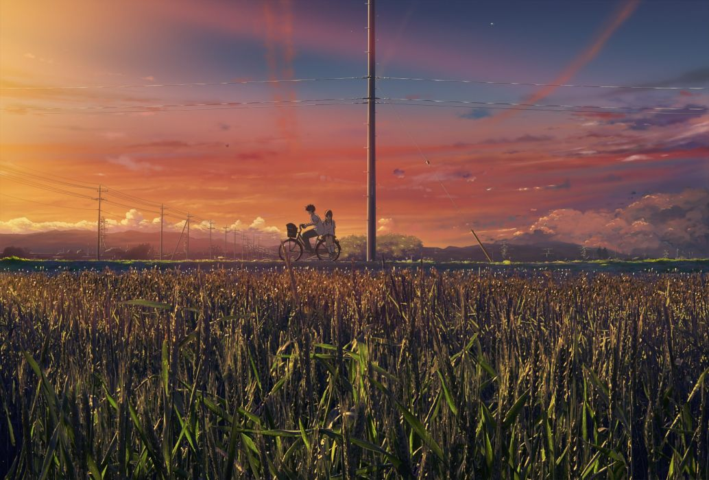 Brunettes sunset clouds landscapes bicycles scenic seifuku anime motorbikes wallpaper