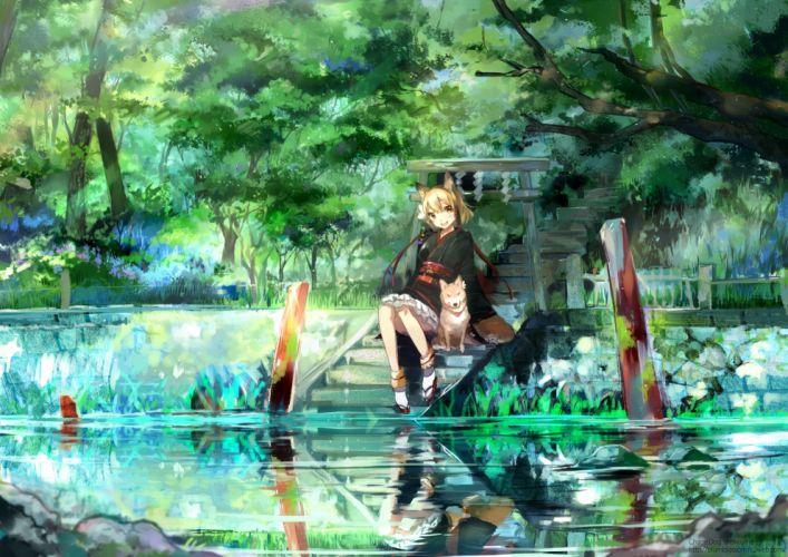 Water dogs nekomimi animal ears anime lakes anime girls wallpaper
