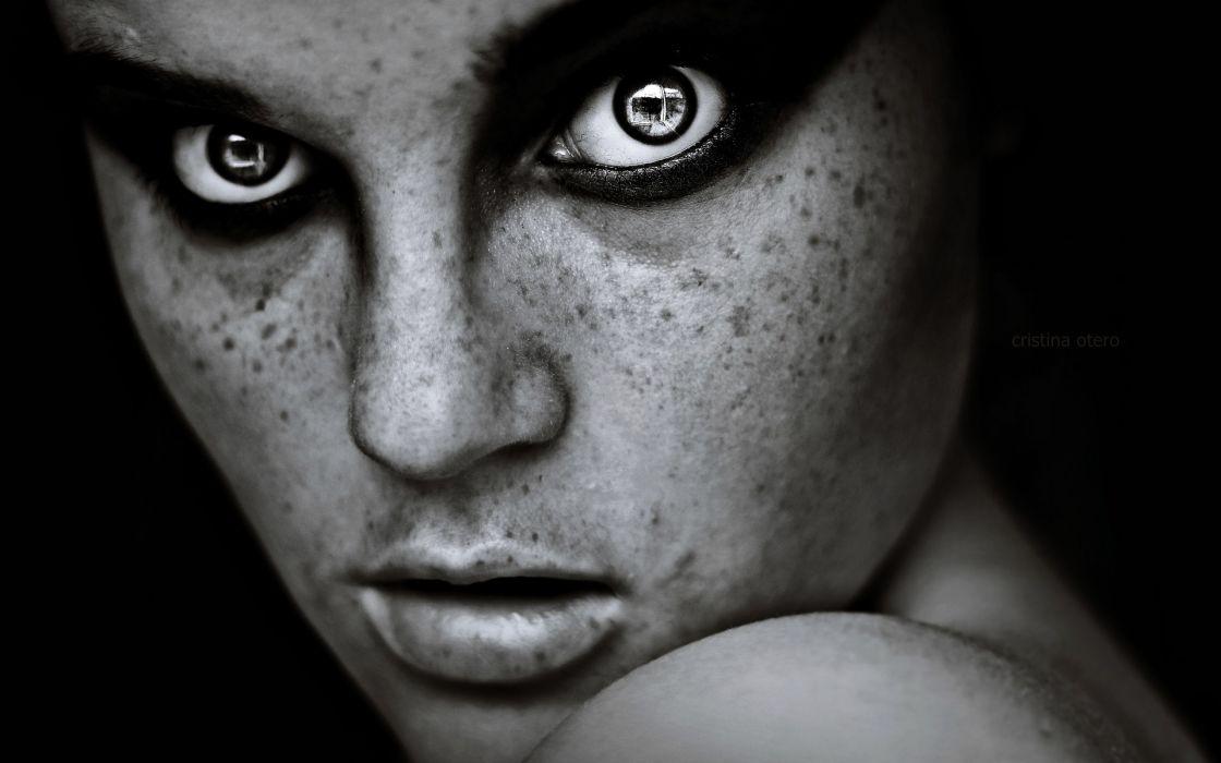 Eyes monochrome faces wallpaper