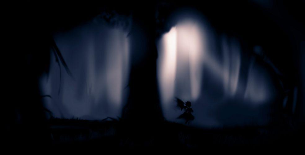 Video games nature touhou wings black trees dark forest silhouette mystia lorelei wallpaper