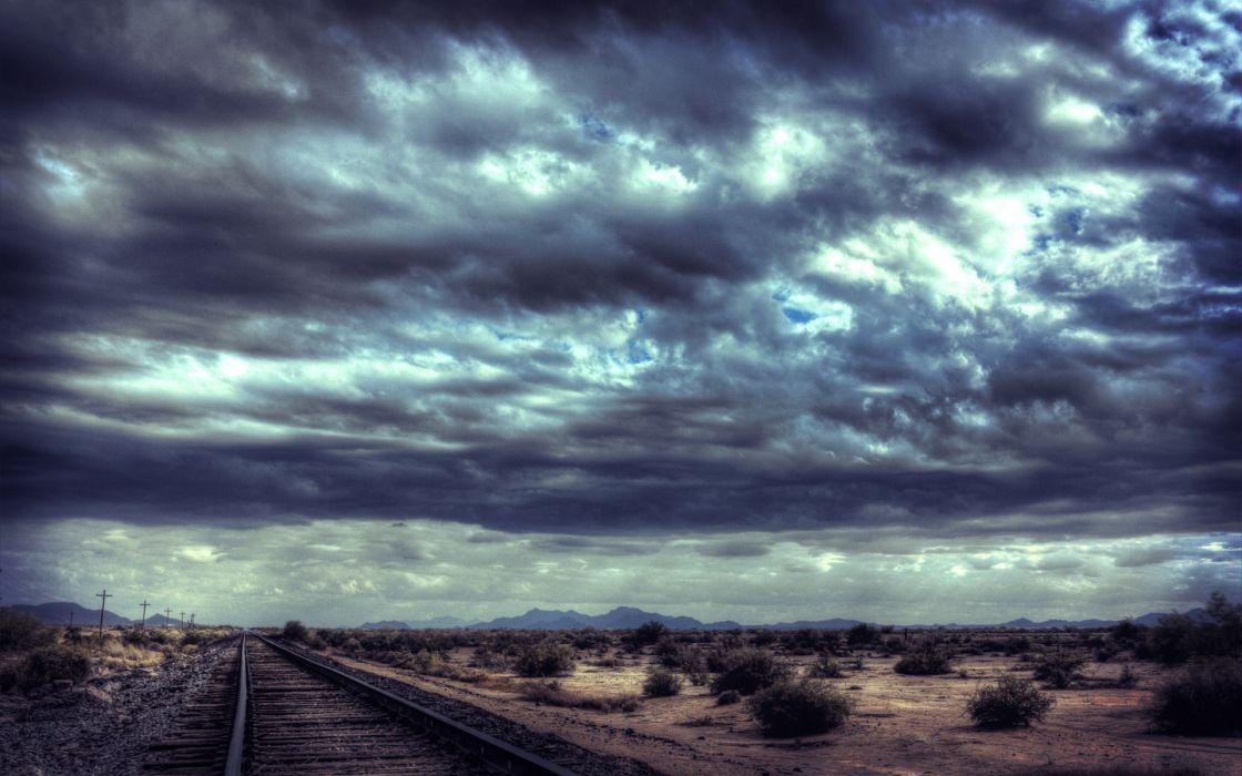Horizon desert railroad tracks skyscapes wallpaper