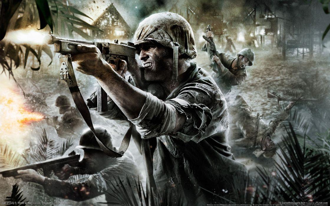 Soldiers war guns battles call of duty world at war wallpaper