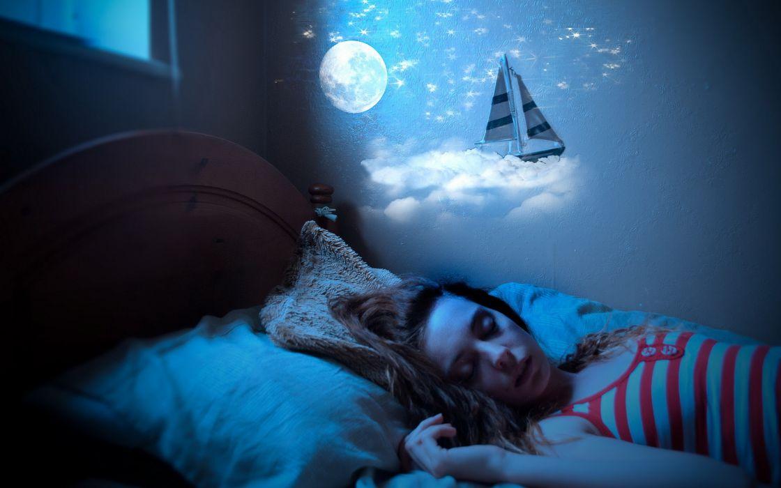Night kids dreams sleeping bedroom little girl wallpaper