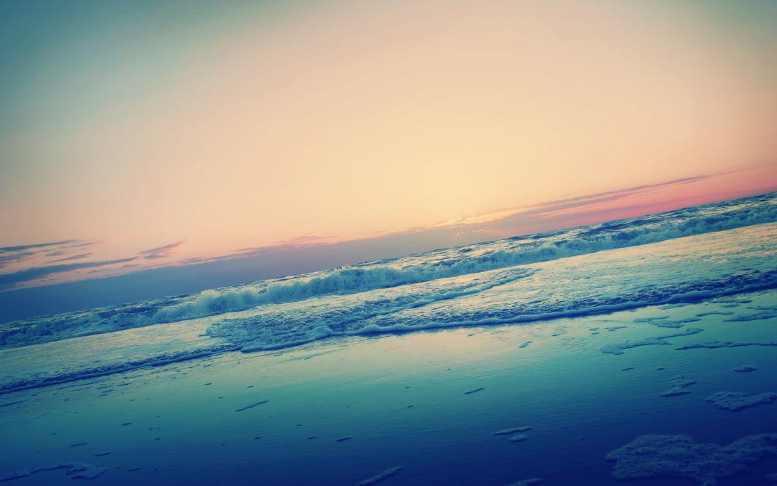 Nature coast beach dawn waves dreamy seascapes wallpaper