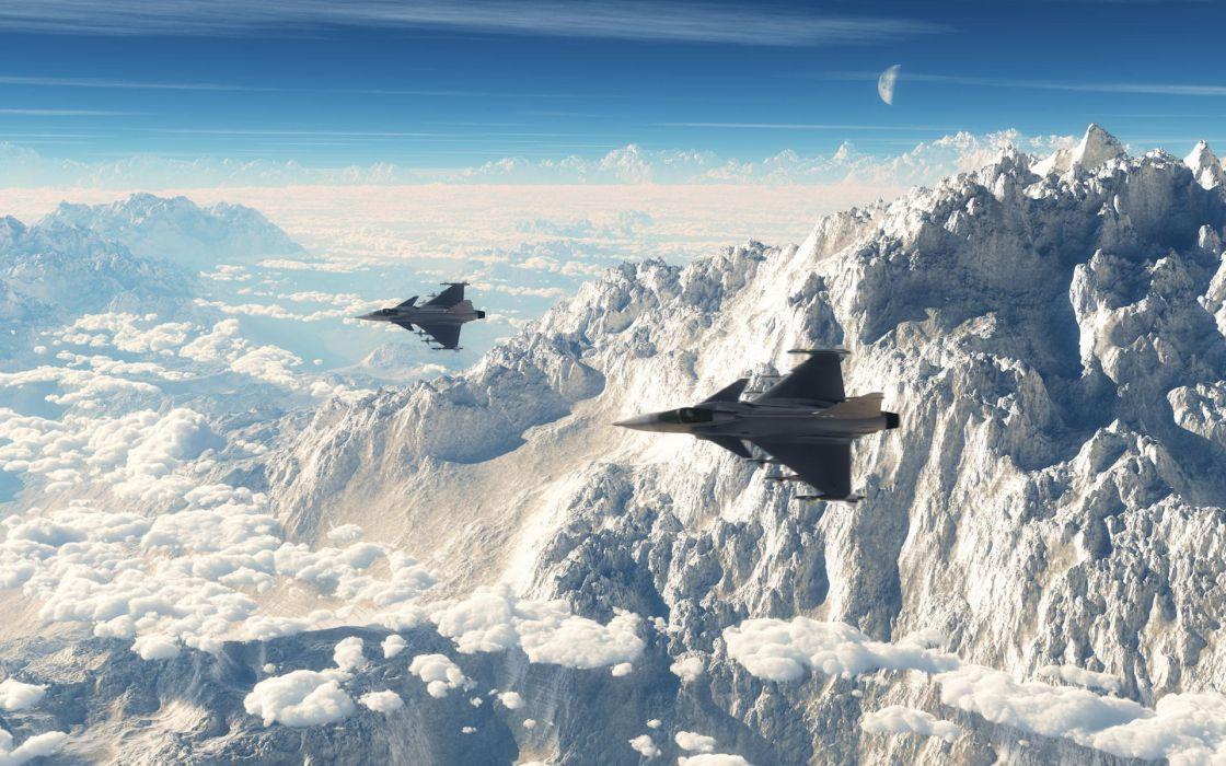 Mountains clouds aircraft fighter jet wallpaper