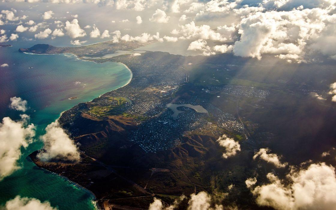 Ocean clouds landscapes nature coast seas land wallpaper