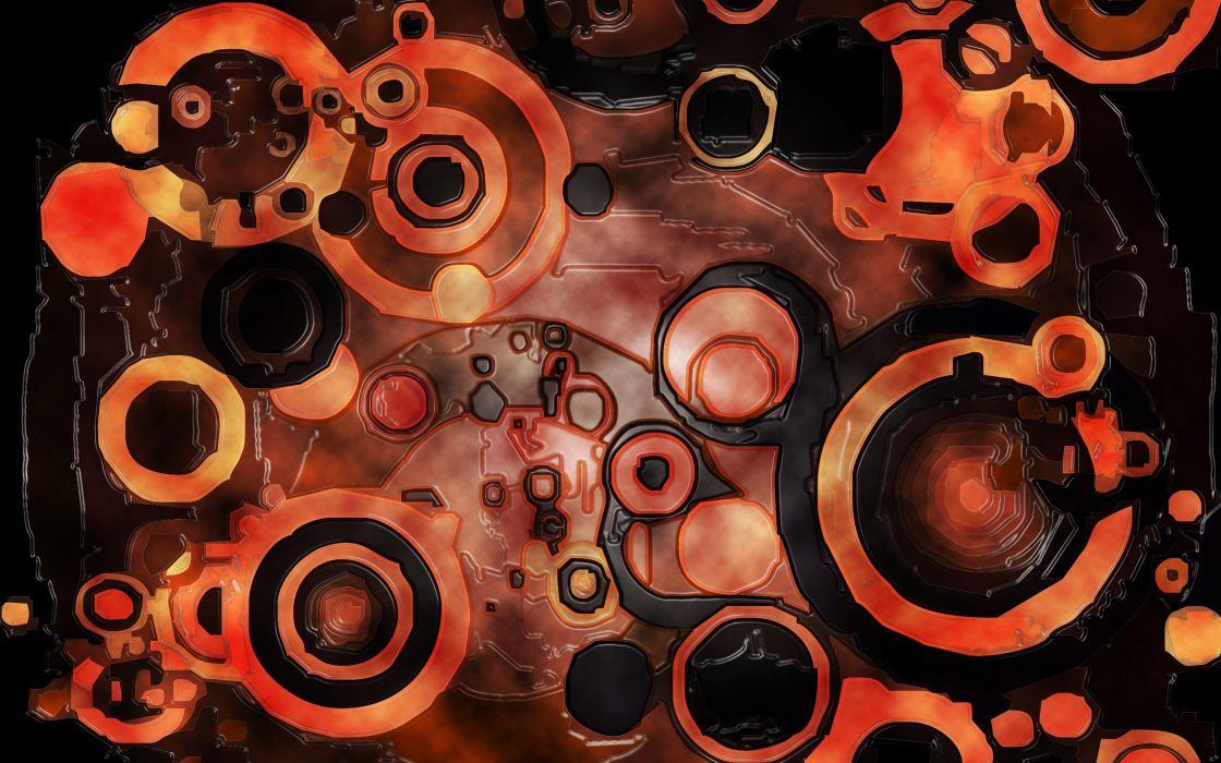 Abstract dark orange circles wallpaper